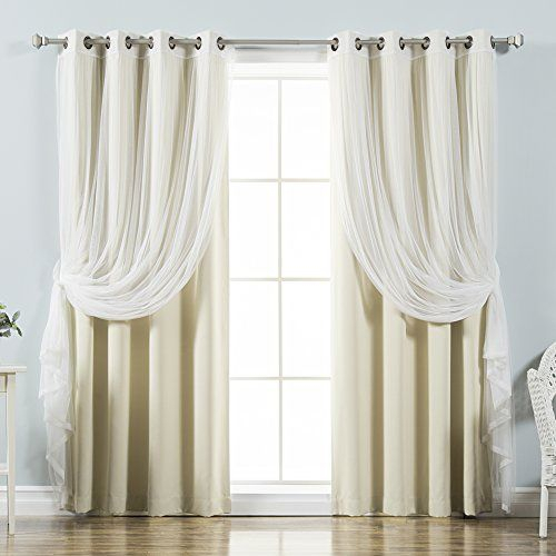 Best Home Fashion Mix & Match Tulle Sheer Lace & Blackout With Mix & Match Blackout Tulle Lace Bronze Grommet Curtain Panel Sets (View 6 of 50)