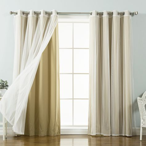 Best Home Fashion Mix & Match Tulle Sheer Lace Blackout With Regard To Mix And Match Blackout Tulle Lace Sheer Curtain Panel Sets (#26 of 50)