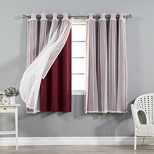 Best Home Fashion Mix & Match Tulle Sheer Lace & Blackout Within Mix & Match Blackout Tulle Lace Bronze Grommet Curtain Panel Sets (View 48 of 50)
