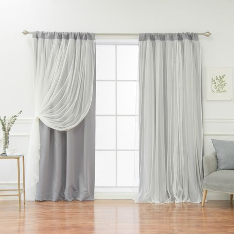 Best Home Fashion Solid Rod Pocket Blackout With Tulle Within Thermal Rod Pocket Blackout Curtain Panel Pairs (#10 of 50)