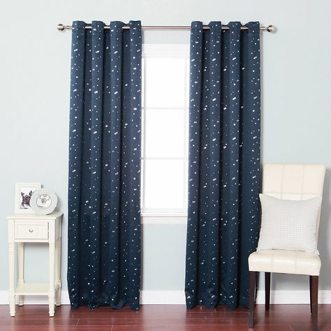Best Home Fashion Star Print Thermal Insulated Blackout Within Antique Silver Grommet Top Thermal Insulated Blackout Curtain Panel Pairs (View 15 of 40)