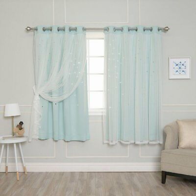 Best Home Fashion Tulle Overlay Star Cut Out Blackout Curtains | Ebay With Star Punch Tulle Overlay Blackout Curtain Panel Pairs (#23 of 50)