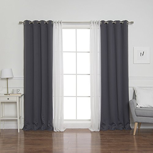 """Best Home Fashion Umixm Mix And Match Tulle Sheer Lace And Blackout 4 Piece  Curtain Set – Stainless Steel Nickel Grommet Top – Dark Grey – 52"""" W X 84"""" Regarding Mix And Match Blackout Tulle Lace Sheer Curtain Panel Sets (#30 of 50)"""