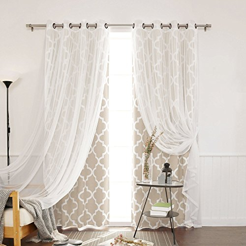 Best Home Fashion Umixm Tulle Sheer Lace And Room Darkening Pertaining To Mix & Match Blackout Tulle Lace Bronze Grommet Curtain Panel Sets (View 46 of 50)