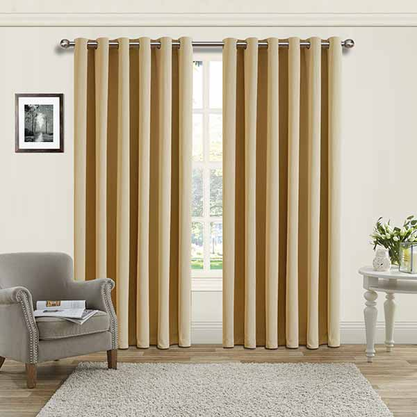 Best Thermal Insulated Blackout Cream Eyelet/ring Curtains For London Blackout Panel Pair (#1 of 41)