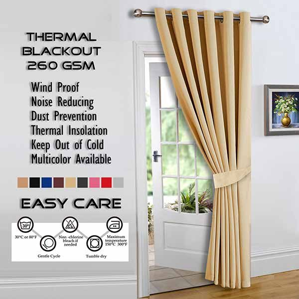 Best Thermal Insulated Blackout Cream Eyelet/ring Curtains In London Blackout Panel Pair (#2 of 41)