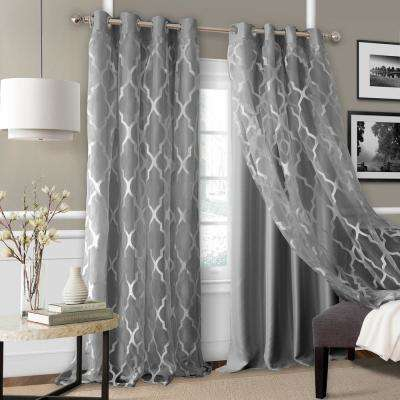 Bethany Sheer Overlay Blackout Window Curtain Throughout Kaiden Geometric Room Darkening Window Curtains (View 8 of 39)