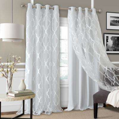 Bethany Sheer Overlay Blackout Window Curtain Within Kaiden Geometric Room Darkening Window Curtains (#9 of 39)