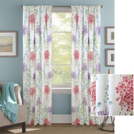 Better Homes And Gardens Hydrangea Floral Window Curtain Throughout Gray Barn Dogwood Floral Curtain Panel Pairs (View 9 of 48)