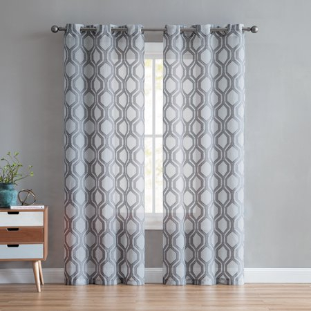 Better Homes And Gardens Ogee Clip Jacquard Window Curtain Pertaining To Laya Fretwork Burnout Sheer Curtain Panels (#7 of 38)