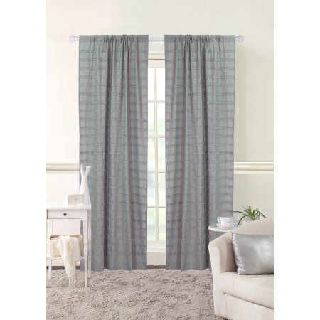 Better Homes & Gardens Ruffle Stripe Single Window Curtain Intended For Sunsmart Abel Ogee Knitted Jacquard Total Blackout Curtain Panels (View 2 of 19)