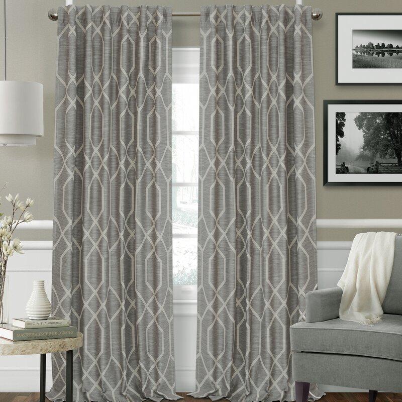 Beyer Geometric Room Darkening Rod Pocket Single Curtain Panel With Regard To Ink Ivy Ankara Cotton Printed Single Curtain Panels (View 47 of 50)
