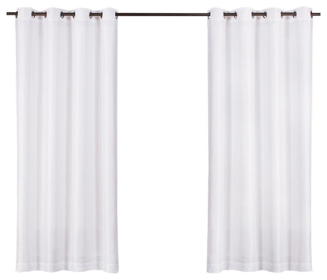 """Biscayne Indoor/outdoor Two Tone Grommet Top Curtains, 54""""x84"""", White, Set Of 2 Pertaining To Delano Indoor/outdoor Grommet Top Curtain Panel Pairs (View 37 of 45)"""