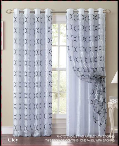Black And White Double Layer Window Curtain Panel: Silver With Regard To Double Layer Sheer White Single Curtain Panels (View 13 of 50)
