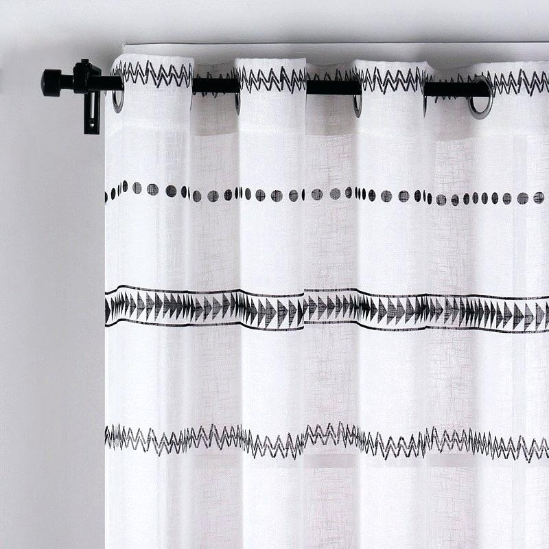 Black And White Geometric Curtains – Vicis Labs With Geometric Linen Room Darkening Window Curtains (View 9 of 50)