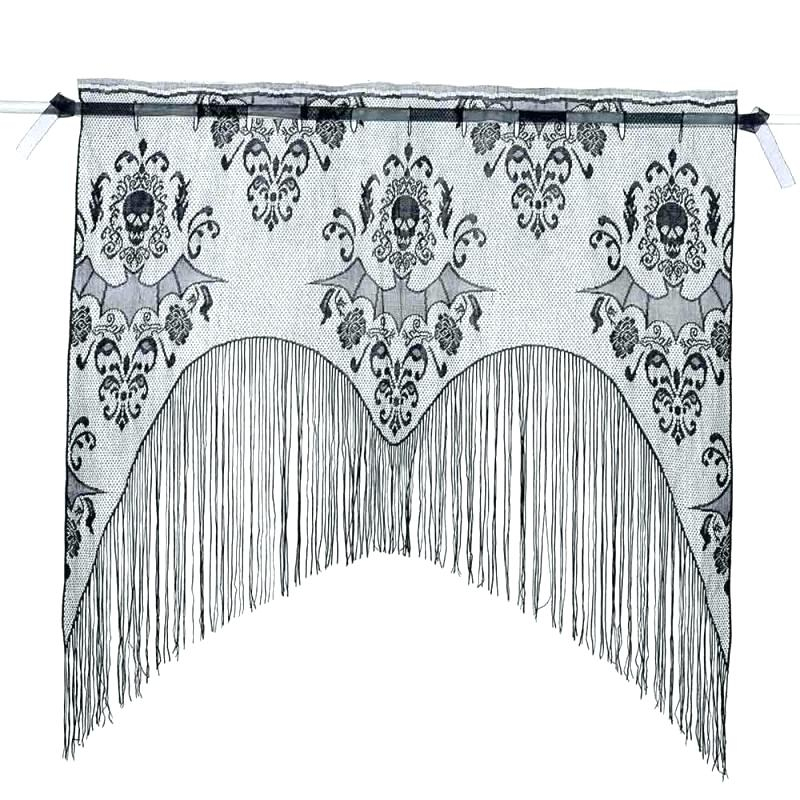 Black And White Tassel Curtains Shower Curtain Grey Lace For In Tassels Applique Sheer Rod Pocket Top Curtain Panel Pairs (View 8 of 45)