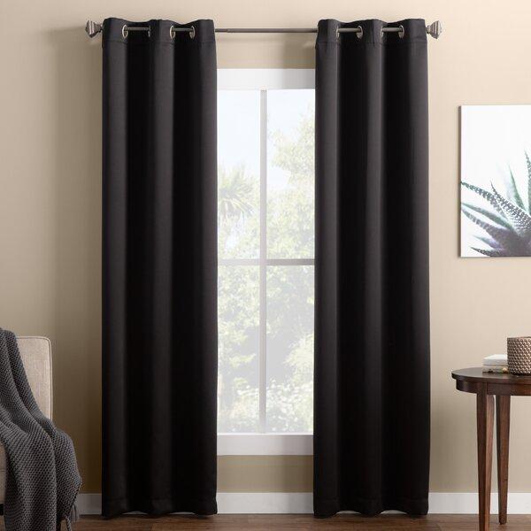 Black Patterned Curtains | Wayfair For Warm Black Velvet Single Blackout Curtain Panels (#7 of 48)