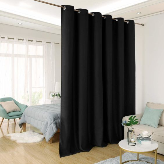 Black Room Divider Curtain Shared Bedroom Privacy Insulated For Riley Kids Bedroom Blackout Grommet Curtain Panels (#2 of 28)
