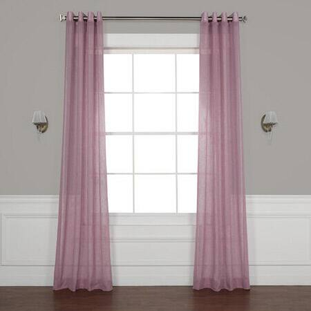 Blackberry Cream Grommet Solid Faux Linen Sheer Curtain In Ombre Stripe Yarn Dyed Cotton Window Curtain Panel Pairs (View 30 of 31)