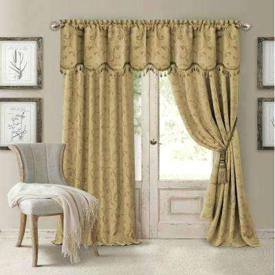 Blackout All Seasons X Single Panel Beige And Gold Curtains Pertaining To All Seasons Blackout Window Curtains (View 12 of 48)