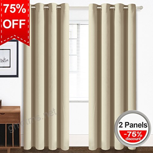 Blackout Curtains Thermal Insulated Grommet Light Blocking Within Easton Thermal Woven Blackout Grommet Top Curtain Panel Pairs (#8 of 44)