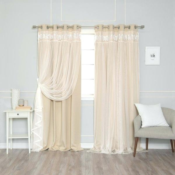 Blackout Curtains With Sheer Overlay – Newmobilephone Throughout Star Punch Tulle Overlay Blackout Curtain Panel Pairs (#25 of 50)