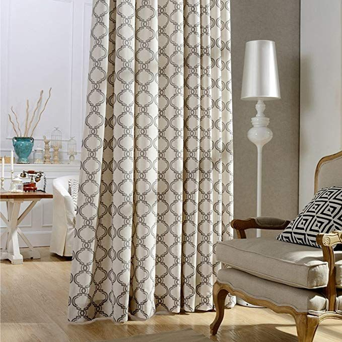 Blackout Lined Curtains Brown Linen Cotton Drapes – Anady 2 In Geometric Linen Room Darkening Window Curtains (View 10 of 50)
