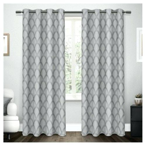 Blackout Liner Scalloped Heavyweight Jacquard Linen With Within Woven Blackout Curtain Panel Pairs With Grommet Top (#8 of 42)