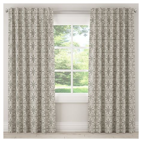 "Blackout Paris Tile Curtain Panel Cream (50""x108"") – Skyline With Regard To Sarong Grey Printed Cotton Pole Pocket Single Curtain Panels (#12 of 50)"