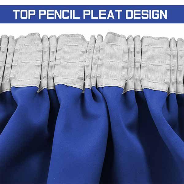 Blackout Pencil Pleat Blue Ready Made Curtains Regarding London Blackout Panel Pair (#11 of 41)