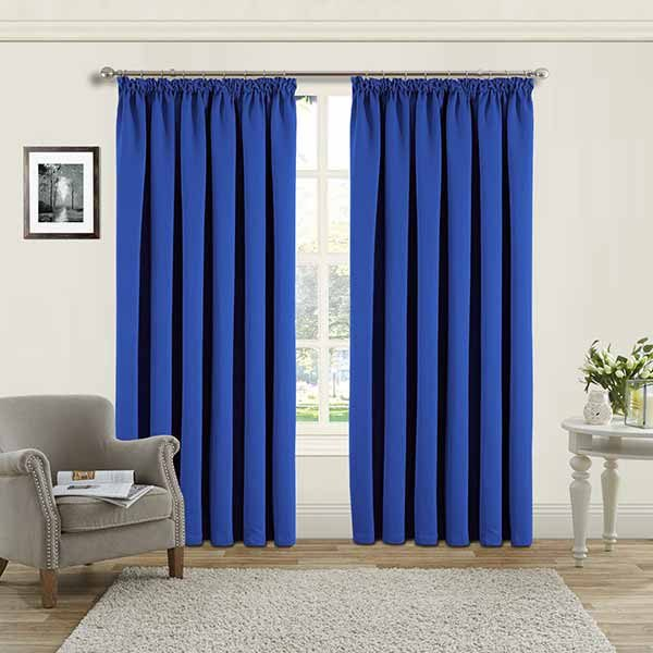 Blackout Pencil Pleat Blue Ready Made Curtains Throughout London Blackout Panel Pair (#12 of 41)