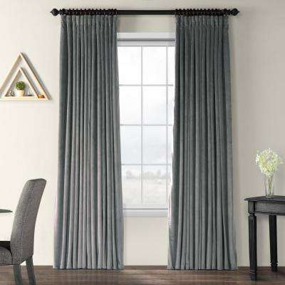 Blackout Signature Natural Grey Doublewide Blackout Velvet Curtain – 100 In. W X 96 In (View 20 of 50)