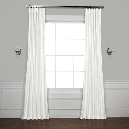 Blackout Signature Off White Velvet Curtain In W X 120 Regarding Signature Pinch Pleated Blackout Solid Velvet Curtain Panels (View 29 of 50)