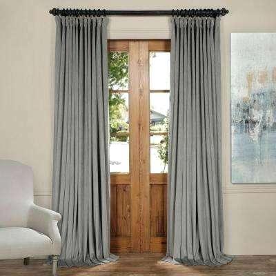 Blackout Signature Silver Grey Velvet Curtain In W X Intended For Signature Blackout Velvet Curtains (#2 of 50)