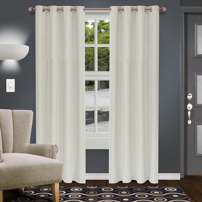 Blane Geometric Blackout Thermal Grommet Curtain Panel In Moroccan Style Thermal Insulated Blackout Curtain Panel Pairs (View 33 of 50)