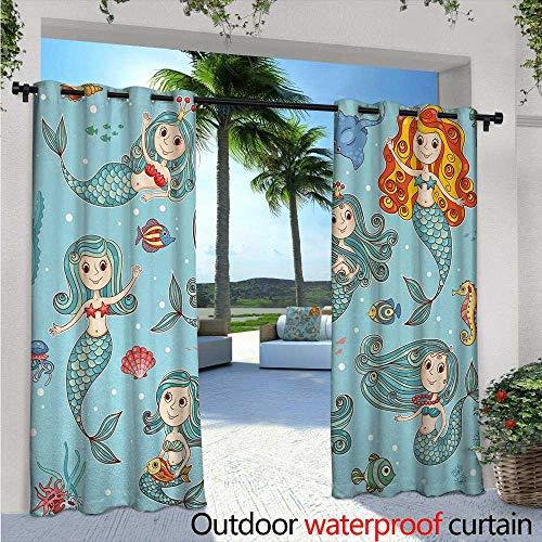 Blountdecor Mermaid Indoor/outdoor Single Panel Print Window Inside Matine Indoor/outdoor Curtain Panels (#4 of 50)