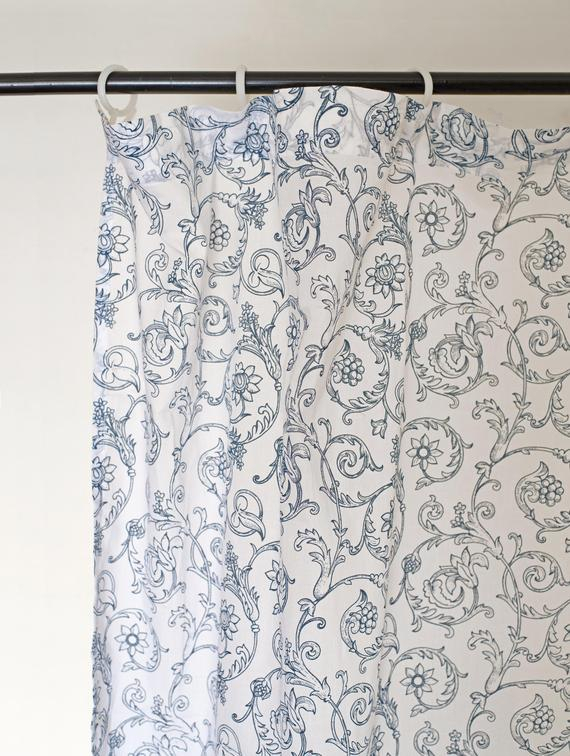 """Blue Cotton Voile Curtain Panel, Printed Curtain, Sheer Drape, Swirl  Pattern, Victorian, Sizes Available"""" Throughout Grey Printed Curtain Panels (View 8 of 48)"""