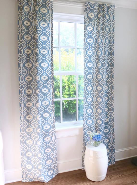 Blue Ikat Curtains Light Blue Curtains Ikat Curtains Blue Drapes Ikat  Curtain Panels Blue Ikat Fabric Blue White Curtains Long Curtains Wide Within Ikat Blue Printed Cotton Curtain Panels (#7 of 50)