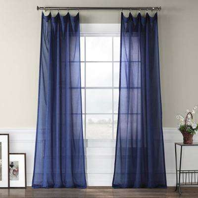 Blue Lapis Faux Linen Sheer Curtain – 50 In. W X 84 In (#2 of 50)