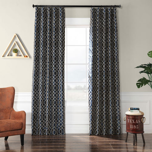 Blue Mid Century Modern Curtains And Drapes Free Shipping Within Mid Century Geo Room Darkening Window Curtain Panel Pairs (View 42 of 43)