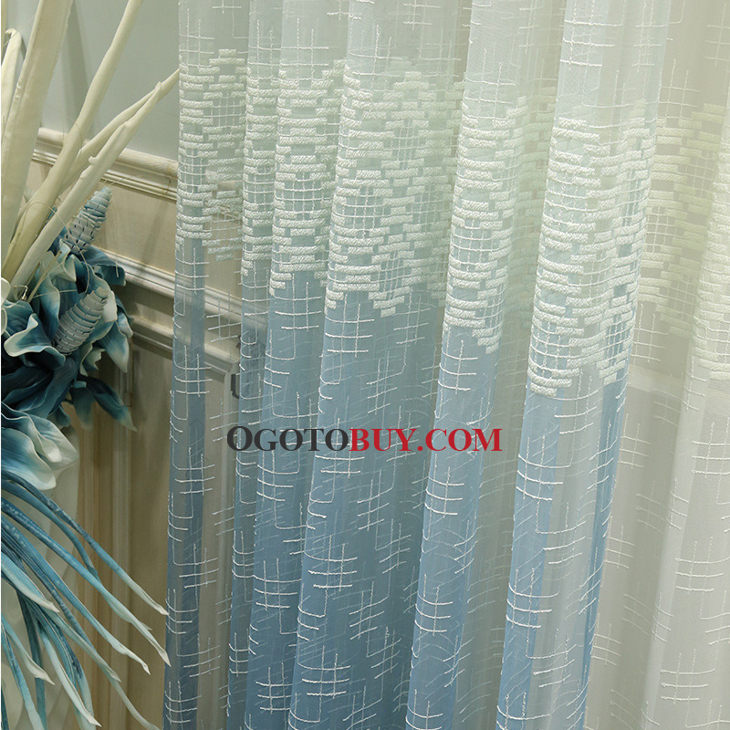 Blue Ombre Curtains Beige Sheer Panels Embroidered Unique With Regard To Ombre Embroidery Curtain Panels (View 4 of 50)