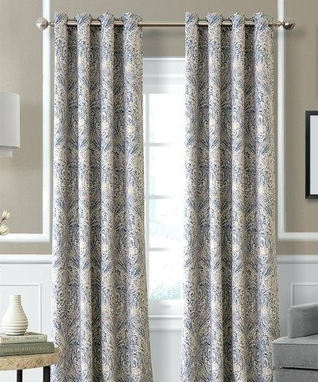 Blue Paisley Curtain Panel Elrene Home Fashions Curtains Throughout Elrene Aurora Kids Room Darkening Layered Sheer Curtains (View 10 of 40)