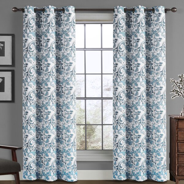 Blue Scroll Curtains | Wayfair With Regard To Kaylee Solid Crushed Sheer Window Curtain Pairs (#6 of 40)