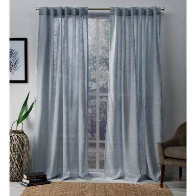 Blue – Sheer Curtains – Curtains & Drapes – The Home Depot In Montpellier Striped Linen Sheer Curtains (#6 of 50)