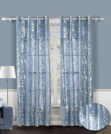 Blue With Silver Dots Yes Please! Blue Spotlight Curtain Regarding The Curated Nomad Duane Jacquard Grommet Top Curtain Panel Pairs (#5 of 50)