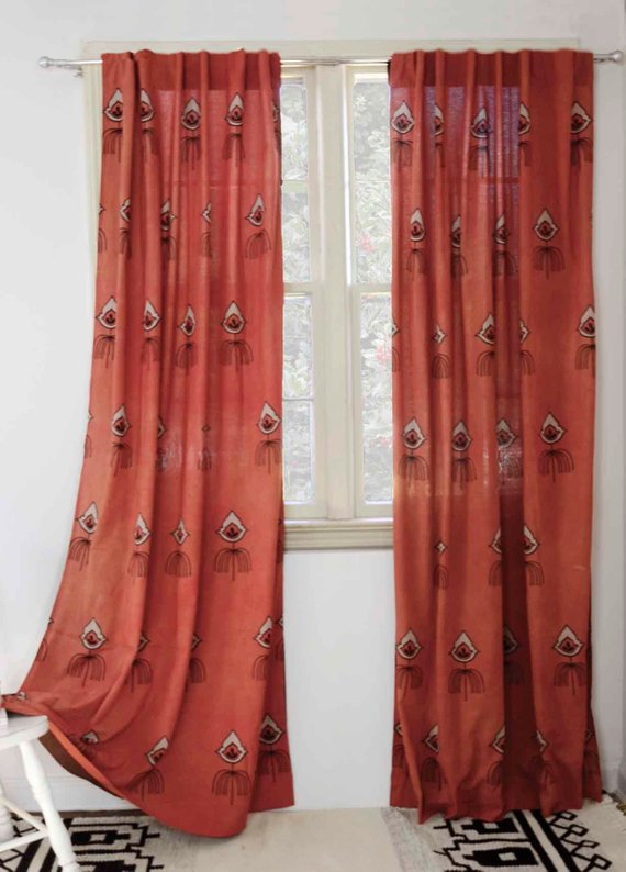 Bohemian Curtains Coral Rust Window Curtains Window Boho Throughout Lambrequin Boho Paisley Cotton Curtain Panels (View 6 of 41)