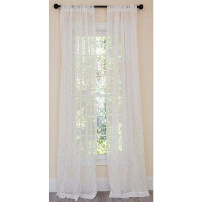 Bonita Diamond Embroidered Sheer Rod Pocket Single Curtain Panel In Gold – 54 In. X 96 In (View 26 of 50)