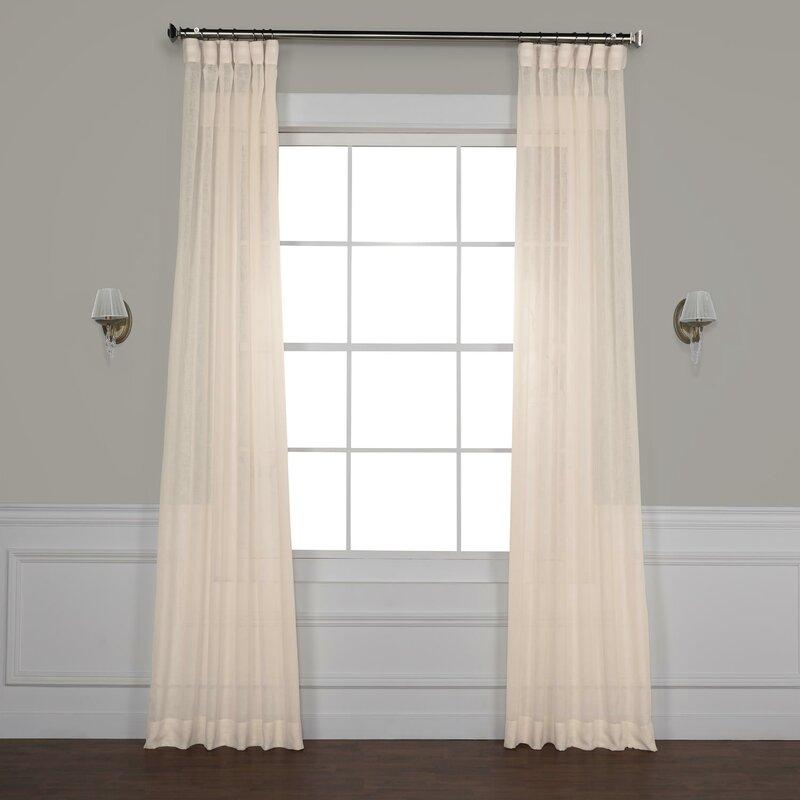 Bowley Solid Sheer Tab Top Single Curtain Panel Regarding Tab Top Sheer Single Curtain Panels (View 26 of 50)