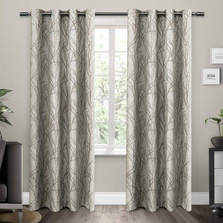 Branches Grommet Top Window Curtain Panels, Natural, Set Of For Baroque Linen Grommet Top Curtain Panel Pairs (View 12 of 48)