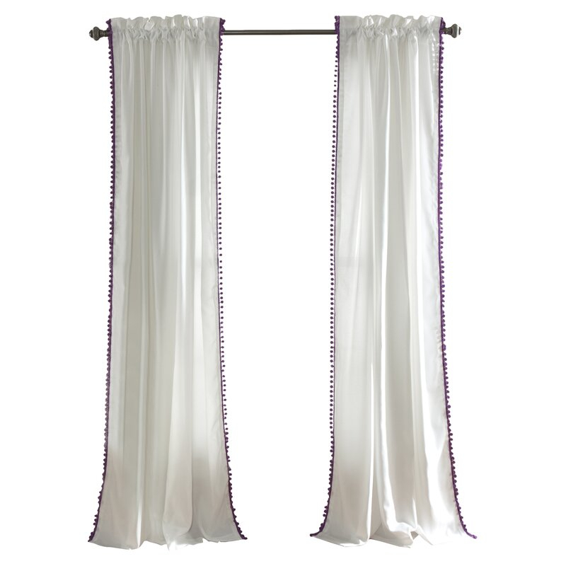 Brannon Solid Sheer Rod Pocket Single Curtain Panel Inside Tassels Applique Sheer Rod Pocket Top Curtain Panel Pairs (View 9 of 45)